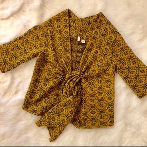 Moth by Anthropologie Yellow Cropped Wool Sweater